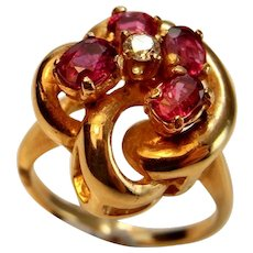 NO HEAT UNHEATED Ruby Ring Ruby Diamond Ring 14K 585 14kt Art Deco Ring 1930s Ring Gold Flower Ring Daisy Ring Gold Knot Ring 1930s Rings