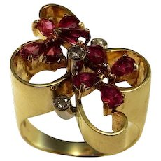 Unique 1920s Art Deco Ruby Ring 1920s Ruby Diamond Ring Art Deco Ruby Ring 14K Yellow Flower Floral Ring Ruby Daisy Ring Butterfly Ring Bow