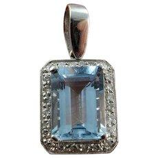 Aquamarine Pendant Necklace Aquamarine Jewelry Diamond Pendant Necklace Emerald Cut Natural Aquamarine Jewelry Blue Bridal Necklace Jewelry Natural Heirloom Jewelry