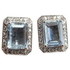 Natural Aquamarine Earrings Aquamarine Diamond Earrings Diamond Stud Earrings Emerald Cut Earrings Aquamarine Jewelry Luxury Jewelry 14K Heirloom Wedding Bridal Emerald Cut Vintage Blue