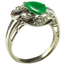 Jadeite Ring Cabochon Ring Green Jade Ring Art Deco Diamond Ring Art Deco Diamond Band Antique Jade Ring Antique Jade Jewelry 18K White Gold Gatsby Jewelry Engagement Ring Wedding Ring Band Color Cabochon
