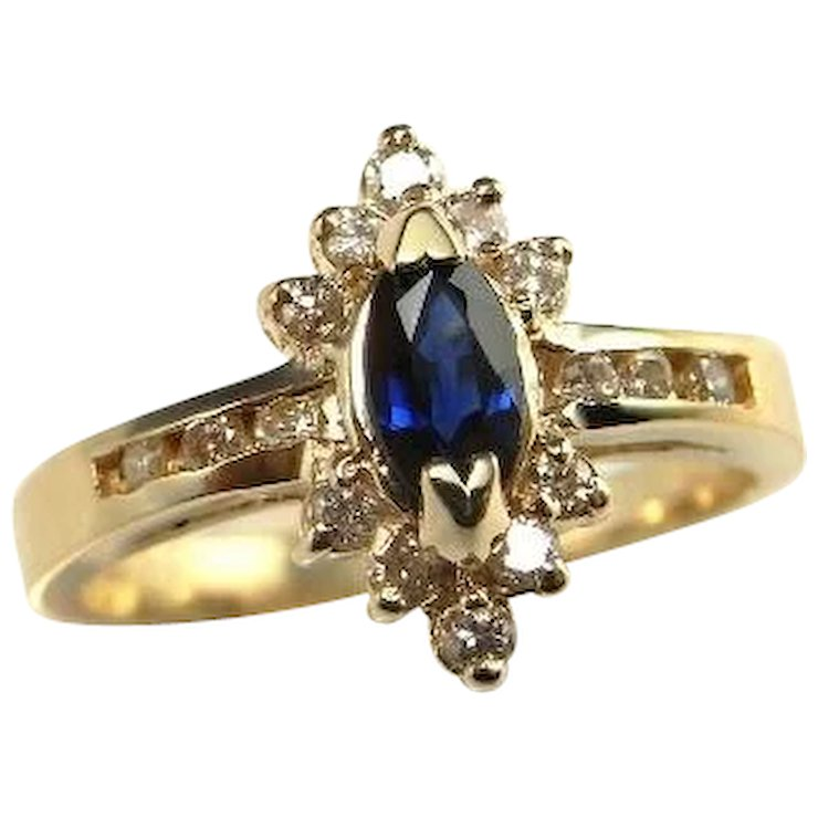 Midnight Marquise Shire Diamond Ring Blue Engagement 14k Gold Navy