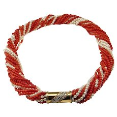 Diamond Clasp Red Coral Necklace Torsade Necklace Coral Bead Necklace 18K Gold Italian Coral Jewelry Pearl Choker Necklace 1950s Jewelry Multistrand Necklace