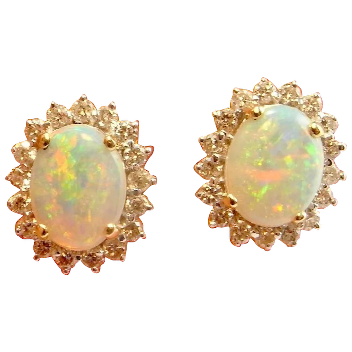 Natural Australian Opal Cabochon Earrings Crystal Diamond 14k Yellow Gold Stud Studs Vintage Fiery