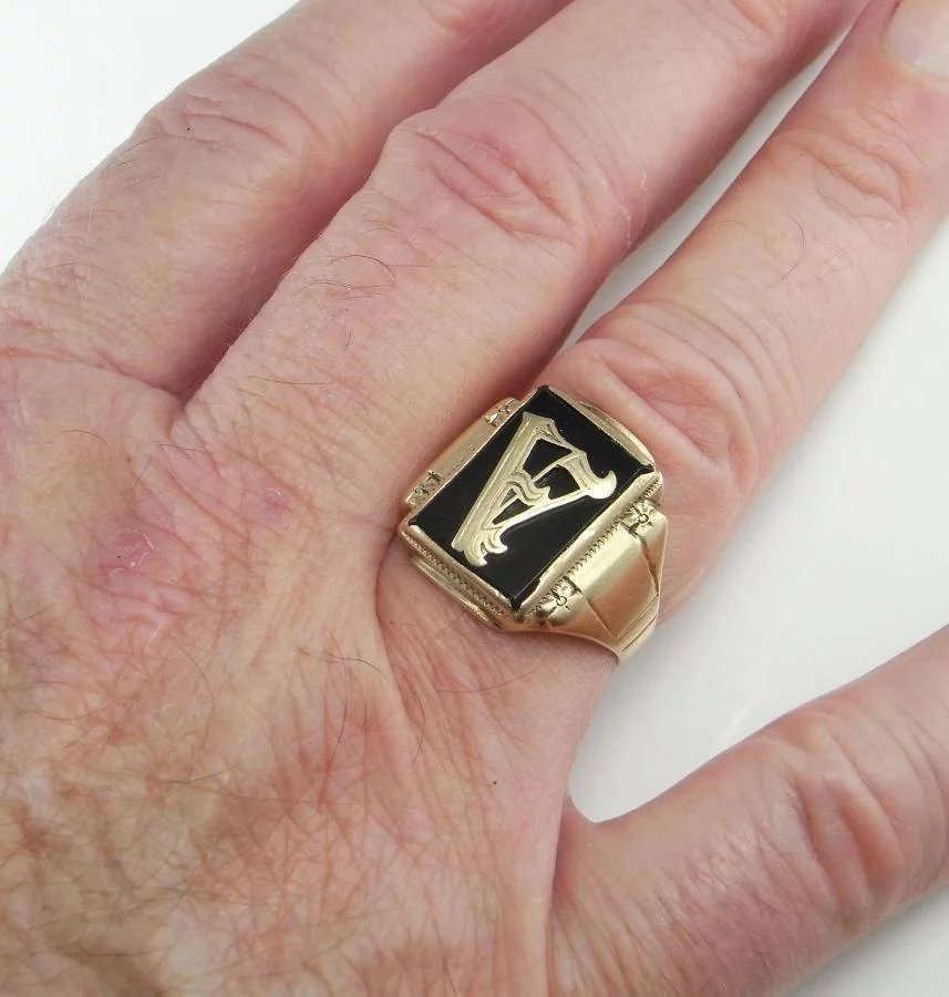 1920 u0026 39 s mens gold signet ring art deco gatsby men u0026 39 s ring downton abbey   the genuine article