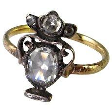 Rare Georgian Rose Cut Diamond Mourning Ring Urn Dainty Foil Backed Silver Gold Handmade 18th Century