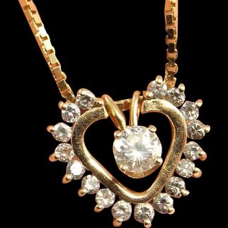 Dainty Diamond Necklace Delicate Diamond Necklace Dainty Pendant Necklace Diamond Heart Necklace Diamond Heart Pendant Bridal Necklace 14K Valentines Anniversary Bridal Wedding Romantic Jewelry Estate Heirloom