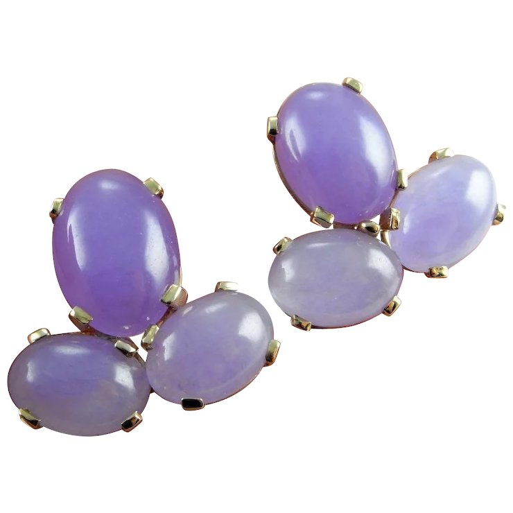 sterling teardrop purple jade and p drop silver earrings v