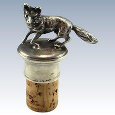 Antique Sterling Silver Fox Figurine Wine Bottle Stopper Bottle Stoppers 19th Century Victorian Silver Fox 925 Vintage Antique Fox Edwardian