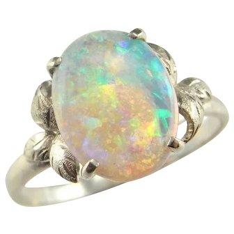 Natural Australian Crystal Opal Ring Opal Engagement Ring Antique Opal Ring Art Deco Engagement Ring Flower Ring 14K White Gold 1930s Ring