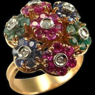 Unique Engagement Kinetic Ring 1950s Engagement Ring Ruby Diamond Ring Emerald Diamond Ring Sapphire Diamond Ring En Tremblant Jewelry 18K