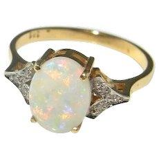 Australian White Opal Diamond Ring Opal Diamond Gold Ring Opal Diamond Engagement Ring Opal Engagement Ring Color Engagement Ring 14K Gold Color Rainbow Cabochon