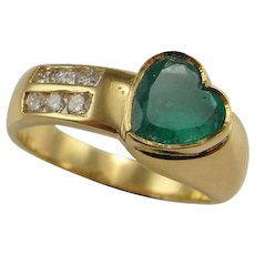 Heart Emerald Ring Heart Engagement Ring Heart Wedding Ring Heart Wedding Band Emerald Anniversary Ring 14K Yellow Gold Emerald Diamond Ring Custom Color Engagement One of a Kind Luxury Heirloom Natural Green Emerald