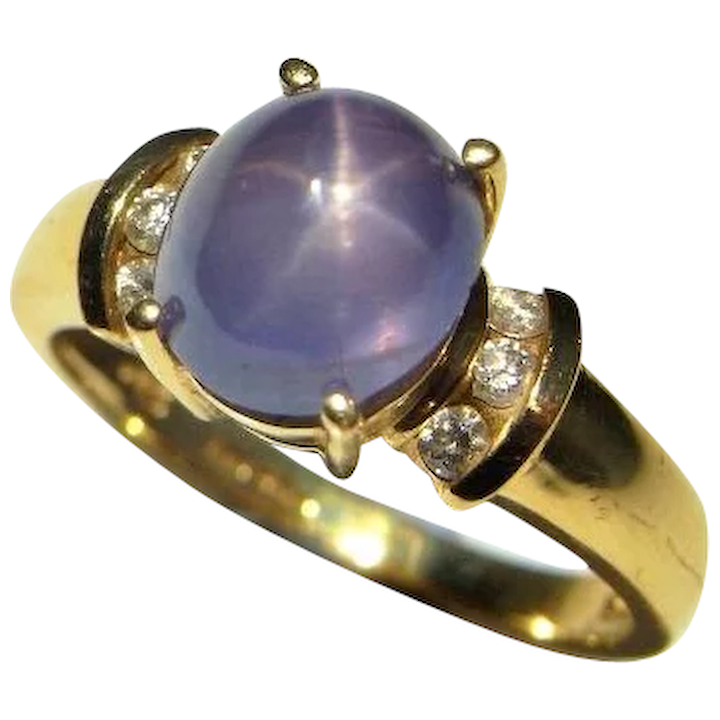 2de8eb62bed4e0 Natural Blue Star Sapphire Ring Vintage Star Sapphire Cabochon Ring Blue  Sapphire Diamond Engagement Ring Color