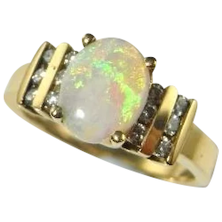 Natural Opal Engagement Ring Natural Opal Ring Australian Opal Diamond The Genuine Article Jewelry Ruby Lane