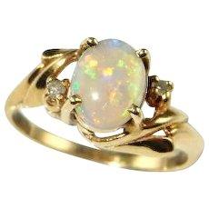 Australian Opal Diamond Ring Crystal Opal Ring Natural Opal Engagement Ring Natural Opal Ring 10K Yellow Gold White Opal Cabochon Ring Fine