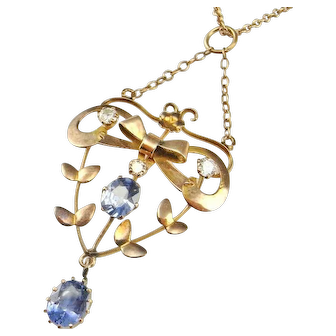 Edwardian Antique Lavalier Necklace Pendant Sapphire Diamond Pendant Sapphire Diamond Necklace Antique Sapphire Necklace Antique Sapphire Pendant 14K Floral Delicate Dainty Drop Wedding Bridal Heirloom One of a Kind Blue Bow Floral Flower