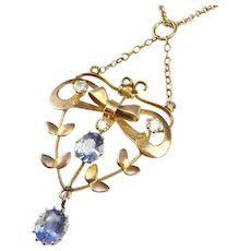 Antique Edwardian NO HEAT Ceylon Sapphire Diamond Necklace Yellow Gold Victorian Floral Bridal Wedding Pendant Delicate Blue Jewelry Unheated Sapphires