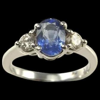 Ceylon Sapphire Ring Ceylon Blue Sapphire Diamond Ring Blue Sapphire Engagement Ring Blue Sapphire Ring Vintage Sapphire Wedding Ring 18K Forget-Me-Not Heirloom Anniversary Wedding Ring Band