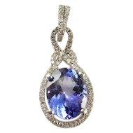 Tanzanite Diamond Pendant 14K White Gold Diamond Pendant Dainty Delicate Halo Heirloom Estate Pretty Blue Hint of Violet Anniversary Wedding Bridal Pendant