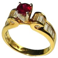 VIVID RED RUBY Ring Natural Red Ruby Ring Round Brilliant Cut Ruby Ring 18K Platinum Handmade Custom Unique Ruby Ring Solitaire Ruby Ring