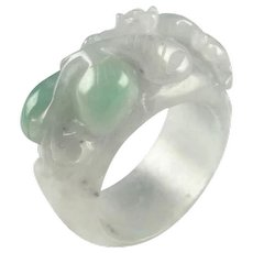 Antique Jadeite Saddle Ring Jadeite Ring Antique Jade Jewelry Jade Saddle Ring Auspicious Lucky Ring 19th Century Qing Dynasty Peach Natural