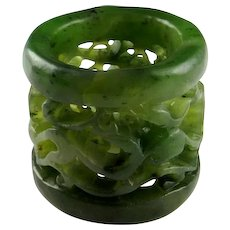 BANSHI Qing Dynasty Mens Thumb Ring Archers Ring Nephrite Jade Ring Antique Jade Ring Antique Mens Ring Natural Jade Mens Jewelry