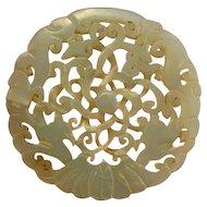 18th C Carved Celadon Nephite Jade Pendant Antique Chinese Jade Jewelry Pendant Bat Good Luck Jewelry Pendant Auspicious Amulet Talisman