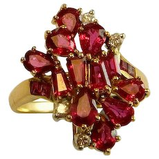 NATURAL VIVID RED Ruby Ring Ruby Diamond Ring Ruby Cluster Ring Ruby Cocktail Ring Ruby Dress Ring 18K 750 Gold Ruby Ring 1970s 1950s 1960s Engagement Wedding Ring Band Custom Artisan Long Statement