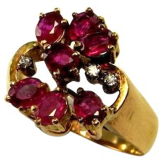 NO HEAT UNHEATED Red Ruby Ring Natural Red Ruby Ring Ruby Cluster Ring Ruby Diamond Ring 14K Yellow Gold 14kt 585 Mid Century Ruby Ring 1950s Ruby Ring Fine