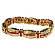 NATURAL VIVID RED Ruby Diamond Statement Bracelet 14K Yellow Gold 585 14kt Wide Ruby Bracelet Wide Diamond Bracelet Ruby Anniversary Ladies