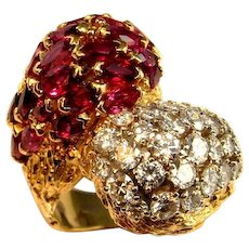 HUGE RUBY RING Natural Red Ruby Diamond Cocktail Ring Artisan Ruby Ring 18K 18kt 750 Yellow Gold Diamond Dome Ring One of a Kind Modernist