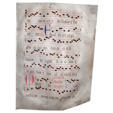 Late Medieval Early Renaissance Illuminated Manuscript Vellum Manuscript Music Gregorian Chants Religious Document Music Abbey 15th Century