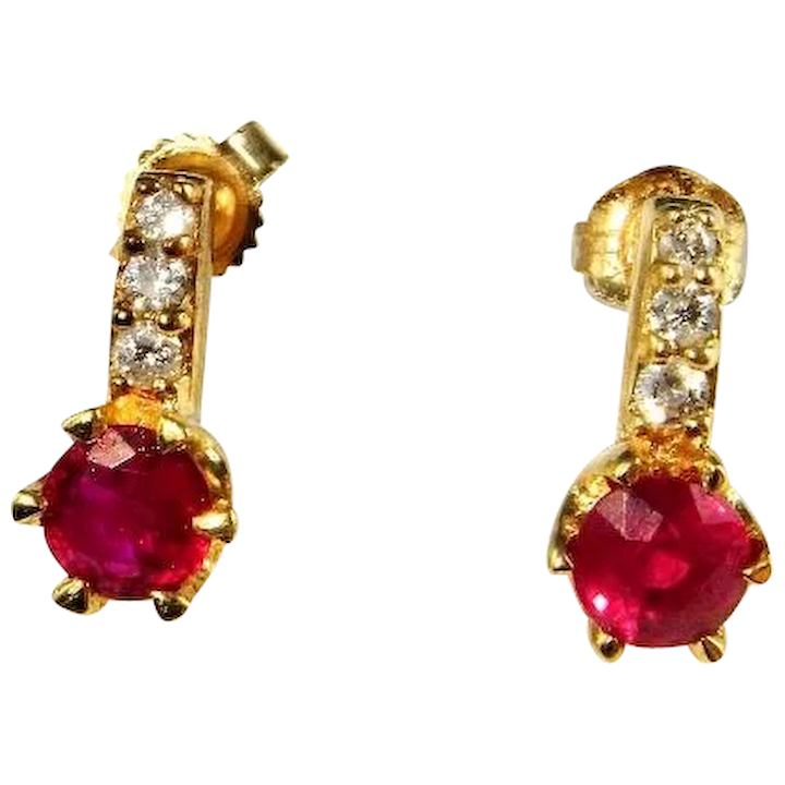 Natural Ruby Diamond Studs 14k Yellow Gold 585 14kt Round Cut Earrings Dainty Jewelry Delicate Journey Fine
