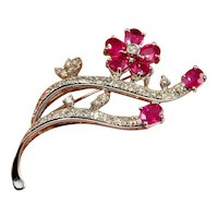 NATURAL RED RUBY Diamond 18K White Gold Brooch Pin 750 18kt Ruby Jewelry Ruby Clip Flower Brooch Floral Brooch Blossom Daisy Pin Jewelry