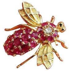 NATURAL RED RUBY Diamond Bee Brooch Pin 14K 14kt 585 Mid Century Brooch Pin Ruby Brooch Pin Diamond Insect Brooch Gold Insect Brooch Gem