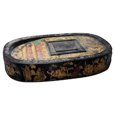 Imperial Qing Dynasty Ink Cake Block Antique Chinese Scholars Ink Calligraphy Ink Dragon Four Toe Palace Immortals Black Antique Ink Rare