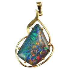 Back to listings Artisan Vintage Crystal Opal Triplet Pendant Australian Opal Pendant 10K Gold Opal Pendant Mid Century Modernist Pendant Jewelry Birthstone Rainbow Pinfire Black Lightning Ridge