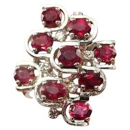 UNHEATED NO HEAT Red Ruby Cocktail Ring Ruby Diamond Ring 14K White Gold Ruby Cluster Ring Ruby Diamond Cluster Ring Unique Engagement Ring