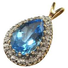 Tear Drop Blue Topaz Diamond Pendant Tear Pendant Pear Cut Topaz Pendant Topaz Diamond Jewelry Topaz 14K Gold Pendant Jewelry Blue 585 14Kt