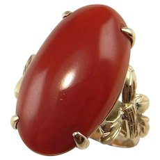 NATURAL RED CORAL Cabochon Ring Red Coral Ring Gold 14K Yellow Gold Coral Jewelry 1950s Ring Floral Ring Red Coral Gold Ring Big Gold Ring Mid Century Leaf Leaves Floral