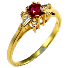Unheated Dainty RED RUBY Diamond 18K Gold Engagement Ring Wedding Anniversary Mid Century NO HEAT ROUND BRILLIANT SOLITAIRE Heirloom Rings