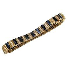 NATURAL BLUE SAPPHIRE Tennis Bracelet Blue Sapphire Diamond Bracelet Diamond Tennis Bracelet 14K Yellow Gold Mid Century 1950s 1960s 1970s Striped NO HEAT UNHEATED Deep Blue Custom 585