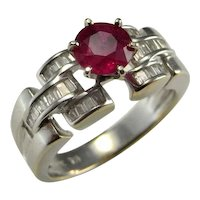 NO HEAT UNHEATED Red Ruby Diamond Ring 18K White Gold Ring Ruby Anniversary Ring Ruby Engagement Ring Ruby Wedding Ring 18Kt 750 Statement