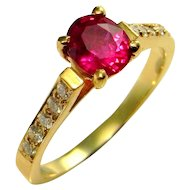 OVAL CUT RED Ruby Engagement Ring 14K Yellow Gold Ruby Anniversary Ring Wedding Ring Band Handmade Artisan One of a Kind Ruby Ring 585 14kt