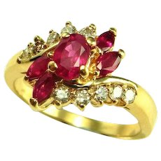Natural Red Ruby Ring 14K Yellow Gold Asymmetrical Asymmetric Ruby Diamond Ring Ruby Anniversary Ring Ruby Engagement Ring Floral Ring 585