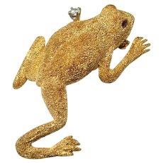 Diamond Frog Pin Brooch 18K Gold Artisan Animal Pin Brooch Frog Jewelry Frog Brooch Jewelry Diamond Ruby Brooch Vintage Animal Jewelry 750