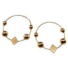 Victorian Gold Earrings Antique Gold Earrings Antique Hoop Earrings 14K Gold Geometric Hoop Earrings Unique Hoop Earrings Large Hoops 585
