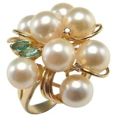 Pearl Diamond Cocktail Ring 14K Gold Emerald Diamond Ring Cultured Pearl Cluster Ring Mid Century Cocktail Ring 1950s Ring Bouquet Ring 585