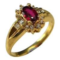 Blood Red Ruby Ring 18K Gold Vintage Ruby Diamond Ring Ruby Engagement Ring Ruby Anniversary Ring Ruby Wedding Band Natural Ruby Ring 750